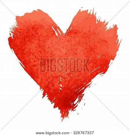 Vector Illustration Of Red Vivid Watercolor Painted Heart With Brushstroke Grunge Shape And Paintbru