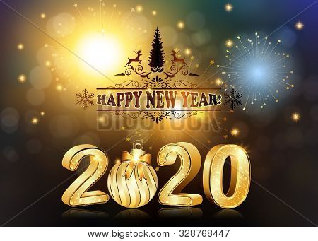 Happy New Year 2020! Greeting Card For Print, With 3d Text. Classic Design, Abstract Background With