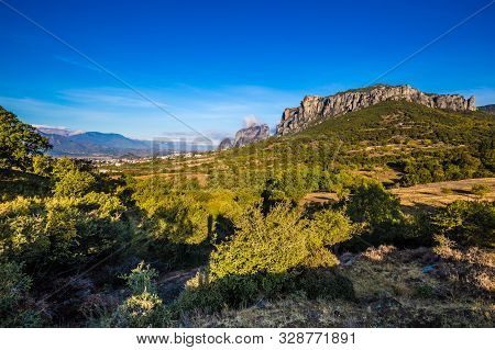 View Of Meteora Landscape In Thessaly, Greece, Europe