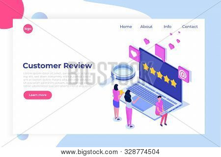 Customer Review, Usability Evaluation, Feedback, Rating System Isometric Concept. Vector Illustratio