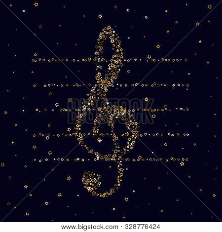 Gold Stars Confetti. Luxury Shiny Little Random Stellar Falling  On Black  Background. Treble Clef O