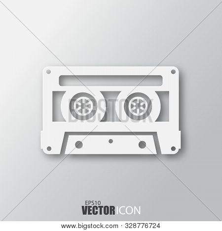 Cassette Icon In White Style With Shadow Isolated On Grey Background.