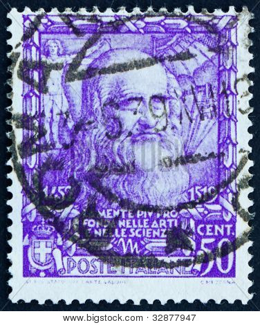 Postage stamp Italy 1938 Leonardo da Vinci, inventor, scientist