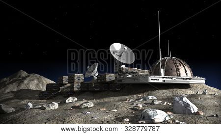 3d Illustration Of A Lunar Base With A Dome Structure, Research Modules, Observation Pods And Commun