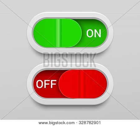 On And Off Switch Buttons Template With Green And Red Toggles In Rounded Rectangle Shapes In Realist