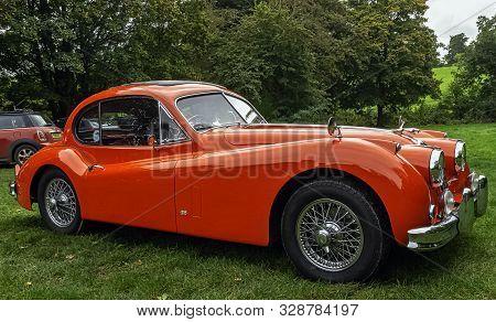 Runnymede, Surrey, Uk - October 2019: Vinage Jaguar Xk 140 1956y On 20 October 2019 In Runnymede, Su