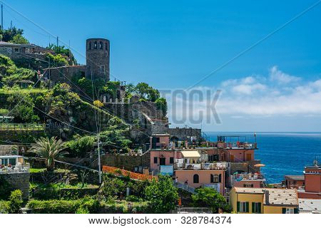 Vernazza, Italy - June 3, 2019 : Vernazza Is One Of The Five Towns That Make Up The Cinque Terre Reg