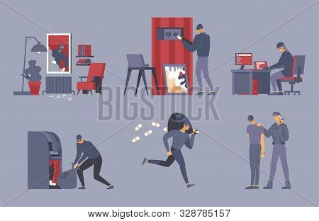 Criminal Activities Flat Vector Illustrations Set. Robber, Thief In Mask And Security Officer Cartoo