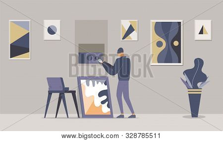 Fancy Apartment Robbery Flat Vector Illustration. Thief In Mask, Intruder Opening Wall Safe Cartoon