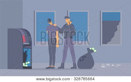 Failed Burglary Attempt Flat Vector Illustration. Policeman In Uniform And Robber In Handcuffs Carto