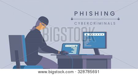 Phishing Cybercriminals Flat Banner Vector Template. Personal Information Stealing, Digital Identity