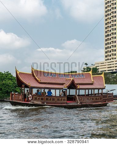 Bangkok City, Thailand - March 17, 2019: Chao Phraya River. Private Ferry Across The Water For Resid