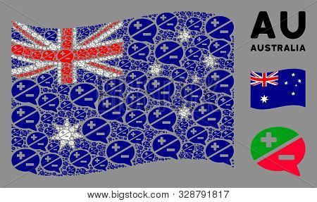 Waving Australia State Flag. Vector Arguments Icons Are Organized Into Mosaic Australia Flag Composi