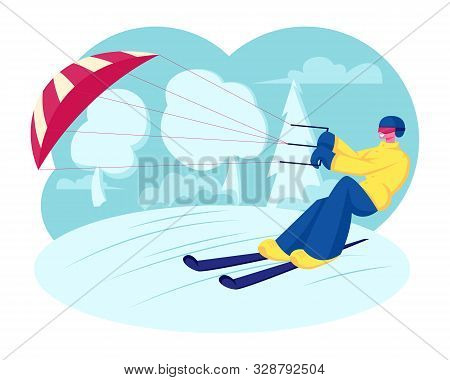 Happy Sportsman Or Sportswoman In Bright Clothes Skiing With Kite On Snow-covered Frozen Surface At
