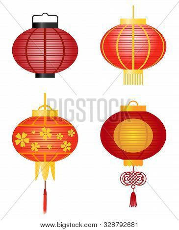 Set Of Traditional Asian Decorative Hanging Lanterns Made Of Paper.