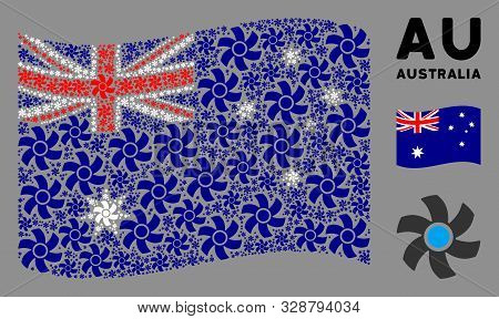 Waving Australia State Flag. Vector Rotor Design Elements Are Placed Into Geometric Australia Flag C