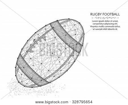 Rugby Ball Low Poly Design, Sport Game Abstract Graphics, American Football Polygonal Wireframe Vect