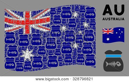 Waving Australia State Flag. Vector Toxic Rubbish Icons Are Organized Into Geometric Australia Flag