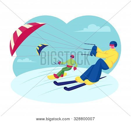Happy Snowboarder And Skier With Kite Riding Downhills By Snowdrifts. Extreme Winter Sport Outdoors