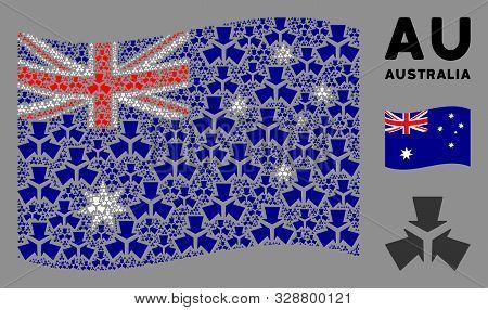 Waving Australia Flag. Vector Shrink Arrows Design Elements Are Scattered Into Conceptual Australia