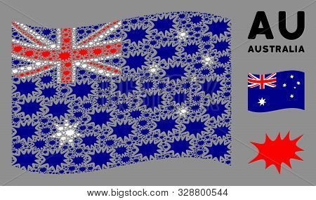 Waving Australia Official Flag. Vector Boom Bang Design Elements Are Organized Into Conceptual Austr