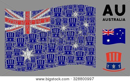 Waving Australia Official Flag. Vector Uncle Sam Hat Design Elements Are Combined Into Mosaic Austra