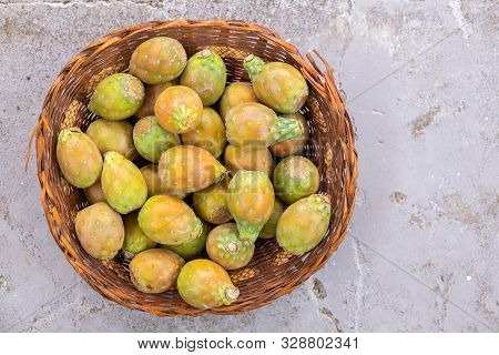 Basket Filled With Delicious Prickly Pear Fruits Or Prickly Pear Fruit, Top View