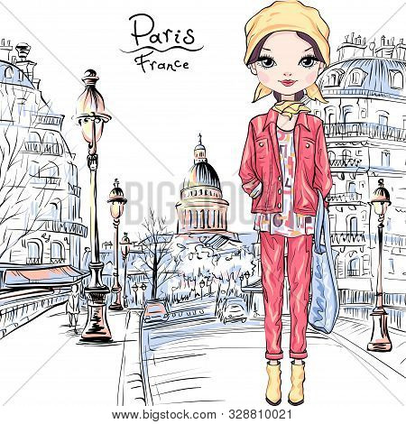 Vector Cute Brunette Girl In Autumn Clothes, Headscarf And Boots, Jacket And Jeans In Paris, France