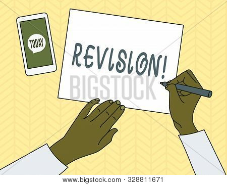 Conceptual hand writing showing Revision. Business photo showcasing action of revising over someone like auditing or accounting Top View Man Writing Paper Pen Smartphone Message Icon. poster