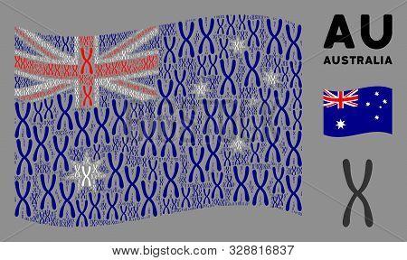 Waving Australia Flag. Vector Chromosome Elements Are Grouped Into Conceptual Australia Flag Illustr