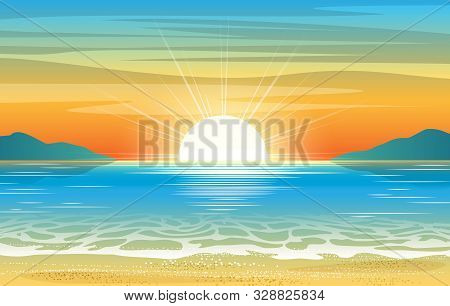 Seascape Sunset. Summer Ocean Abstract Illustration With Sun Dawn And Sea Water, Vacation Sunrise Ba