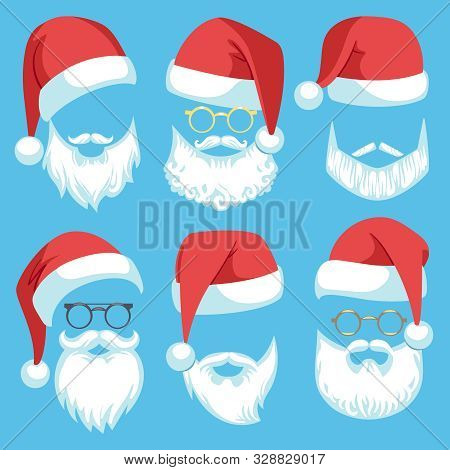Santa Hats And Beards. Christmas Elements White Mustache, Beard And Glasses, Claus Red Hat, Winter H
