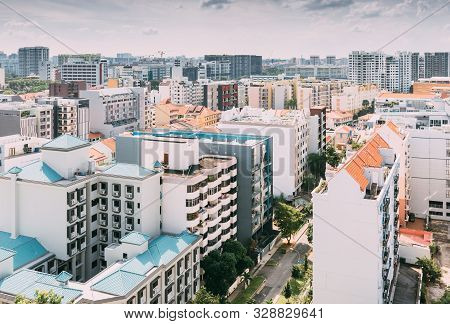 Singapore-16 Jun 2018:singapore Geylang Area Residential Building Aerial Day View