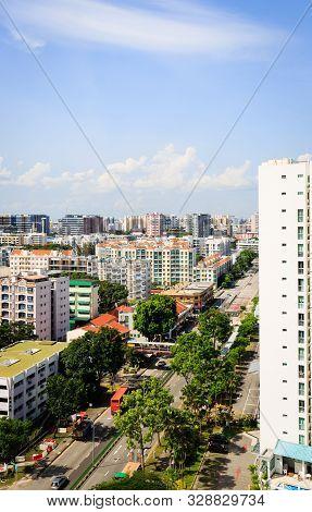 Singapore-16 Jun 2018:singapore Geylang Area Residential Building Aerial View