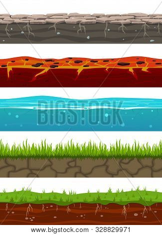 Ground Seamless Levels. Game Earth Surfaces With Land Grass, Dried Soil, Water And Ice, Lava. Landsc