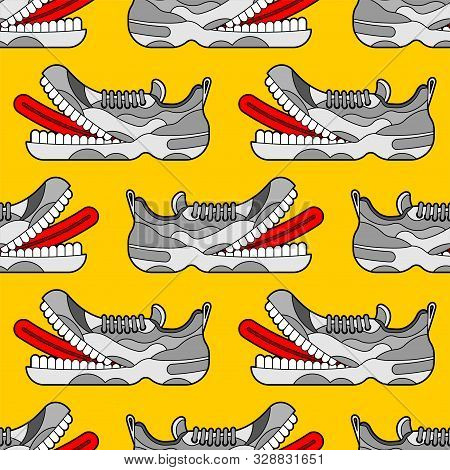 Toothy Sneaker Monster Pattern Seamless. Sneakers With Teeth Background. Angry Hungry Sports Shoes V