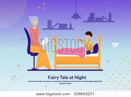 Grandma And Grandchild Relation Flat Poster. Grandmother Read Fairy Tail To Grandson At Night. Boy I