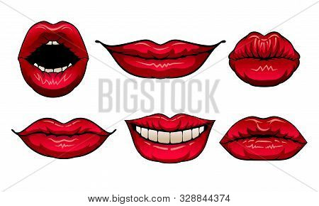 Red Woman Lips Showing Different Emotions Vector Illustrated Set