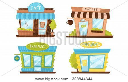 Store Building Facade Vector Illustrated Set. Elements Isolated On White Background