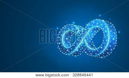 Mobius Strip Ring Infinity Sacred Geometry. Digital, Wireframe, Low Poly Mesh, Vector Neon 3d Illust
