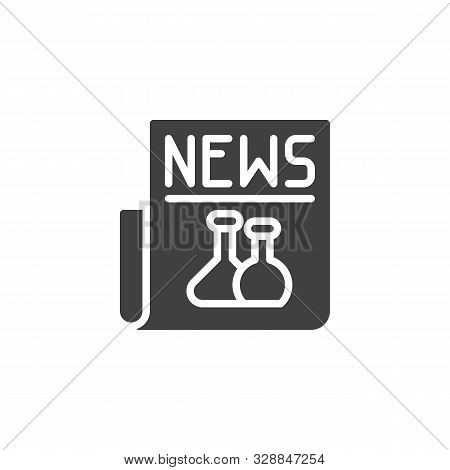Science Newspaper Vector Icon. Filled Flat Sign For Mobile Concept And Web Design. Biochemistry News