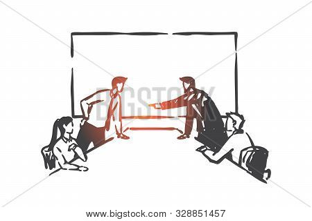 Business Conflict, Directors Board Competition Concept Sketch. Businessmen Characters Arguing In Con