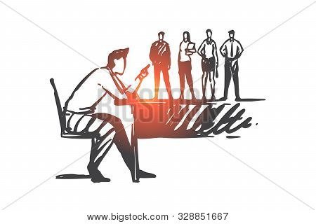 Abusive Leadership, Power Overuse Concept Sketch. Big Boss Reprimanding Small Subordinates, Official