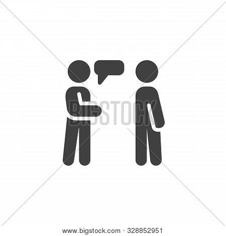 People Conversation Vector Icon. Two Man Talking Filled Flat Sign For Mobile Concept And Web Design.