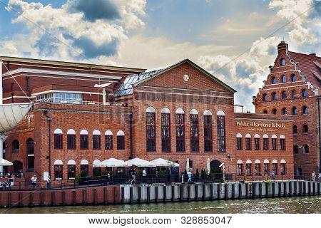 Gdansk, Poland - August 20, 2019: Brick-build Building Of  Fryderyk Chopin Polish Baltic Philharmoni
