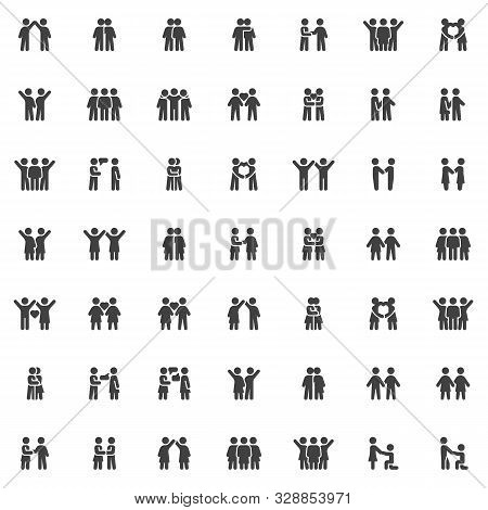 People Relationship Vector Icons Set, Friendship Modern Solid Symbol Collection, Filled Style Pictog