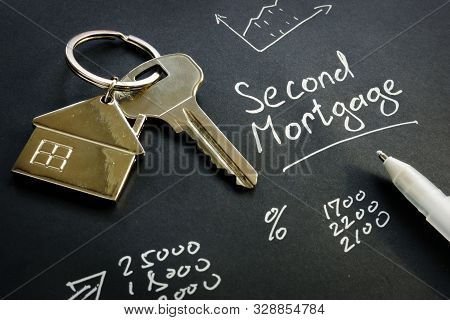 Second Mortgage Sign And Key From Home.