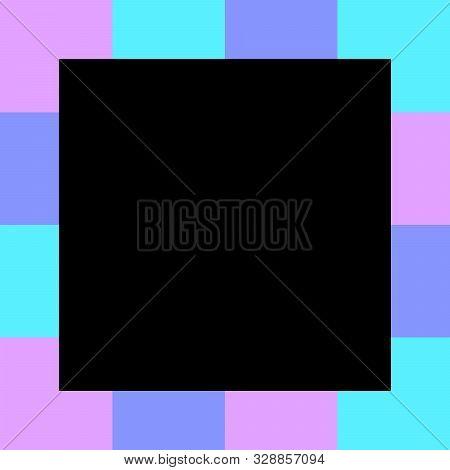 Empty Black Square On Pastel Color Squares Checkered Block, Template Banner Checker Multi Color Rain