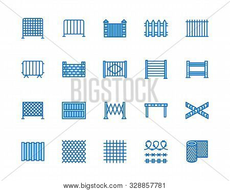 Fence Flat Line Icons Set. Wood Fencing, Metal Profiled Sheet, Wire Mesh, Crowd Control Barricades V