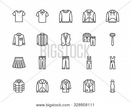 Cloth Flat Line Icons Set. Apparel - Jacket, Hoody, Sweatshirt, Male Pants, Polo Shirt, Jeans, Coat,